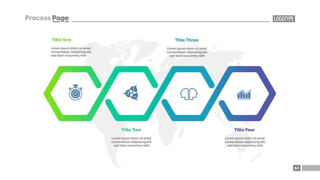 Vier stappen workflow-processchema-sjabloon voor presentatie. Gratis Vector