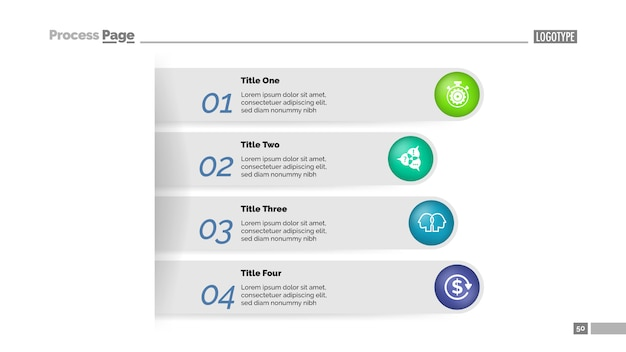 Vier stappen zakelijke aanpak proces grafieksjabloon. visualisatie van bedrijfsgegevens. Gratis Vector