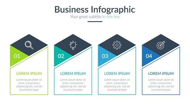 Vier stappen zakelijke infographic Premium Vector