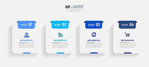 Vier stappen zakelijke infographics Premium Vector
