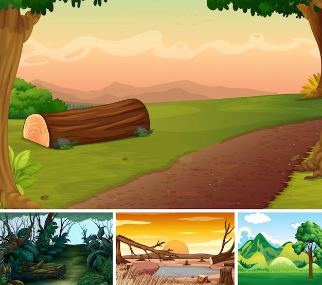 Vier verschillende aardscène van bosbeeldverhaalstijl Gratis Vector