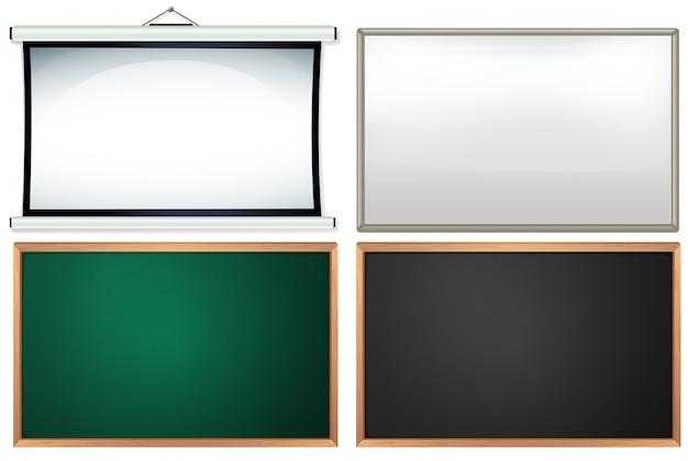 Vier verschillende borden en frames Gratis Vector