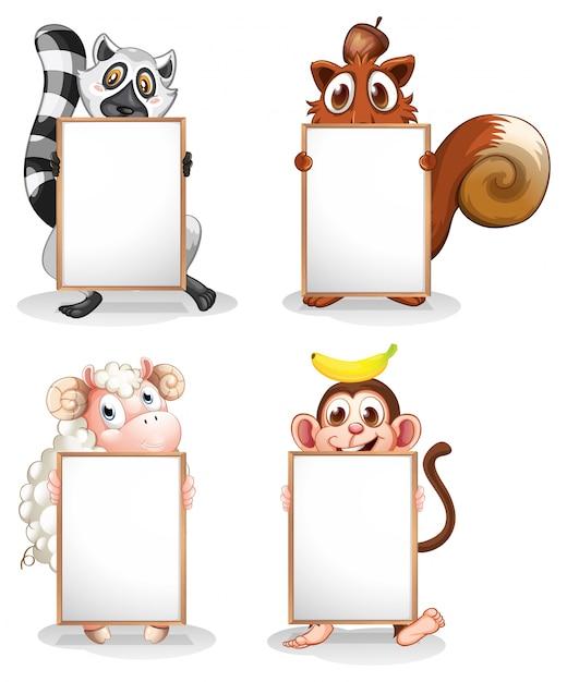 Vier verschillende dieren met lege whiteboards Premium Vector