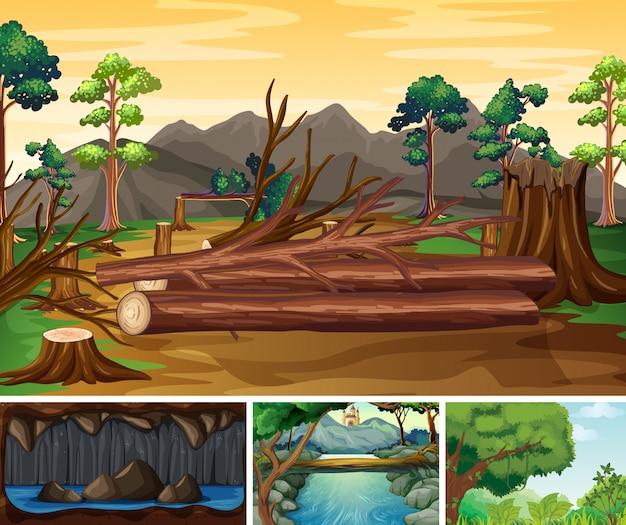 Vier verschillende natuurrampen scènes van bos cartoon stijl Gratis Vector