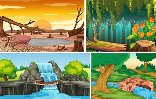 Vier verschillende natuurscènes van bos en water vallen cartoon-stijl Gratis Vector