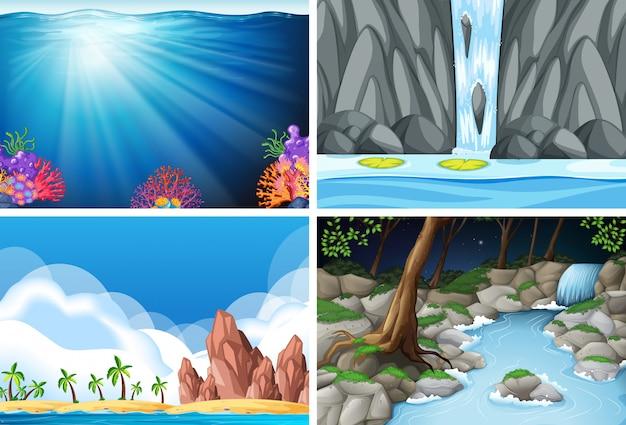 Vier verschillende natuurtaferelen Gratis Vector