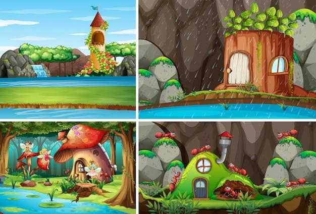 Vier verschillende scènes uit de fantasiewereld met fantasieplekken en fantasiekarakters zoals feeën en mieren met antnest Gratis Vector