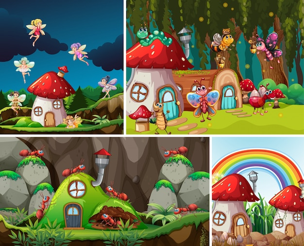 Vier verschillende scènes uit de fantasiewereld met prachtige feeën in het sprookje en mier met mierennest Gratis Vector
