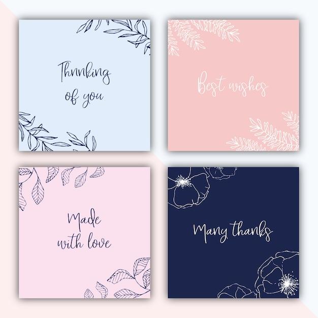 Vier vierkante cadeau labels met hand getekende illustraties Gratis Vector