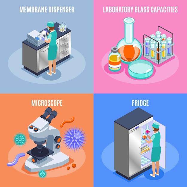 Vier vierkante isometrische microbiologie icon set met membraan dispenser laboratorium glas capaciteiten microscoop en koelkast beschrijvingen illustratie Gratis Vector