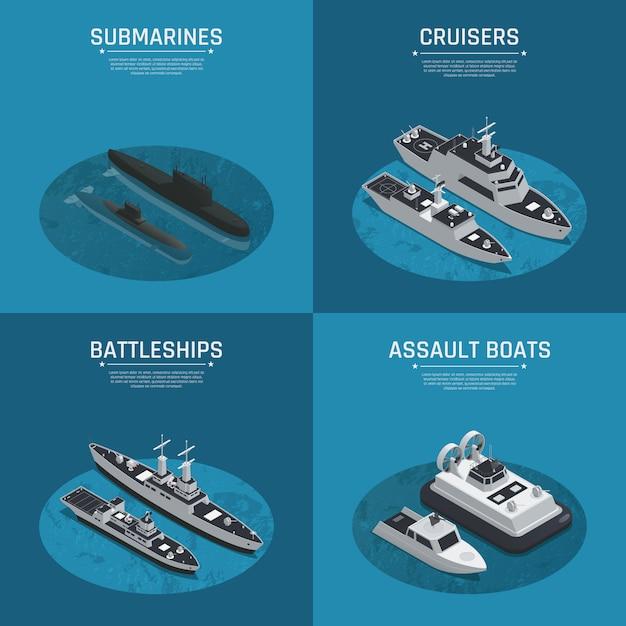 Vier vierkante isometrische pictogramserie van militaire boten Gratis Vector
