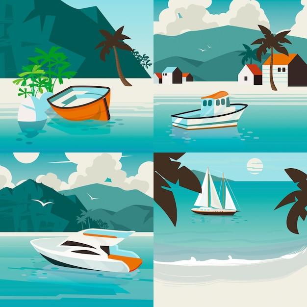Vier vierkante nautische illustratie set met tropisch paradijs landschap met verschillende zeeschepen. vervoer over water zomer illustratie. Premium Vector