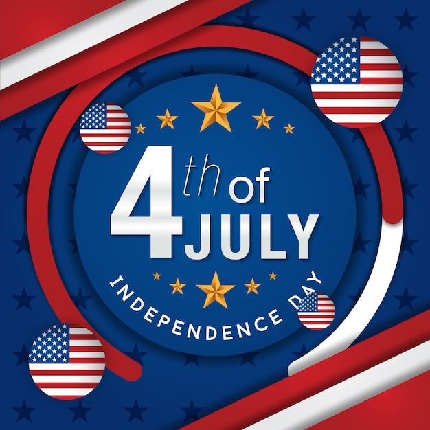 Vierde juli amerikaanse onafhankelijkheidsdag Premium Vector