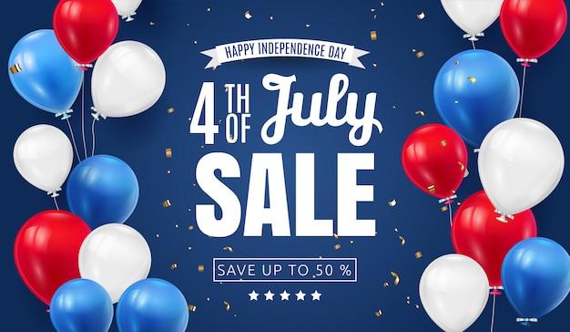 Vierde juli independence day sale banner design met ballon amerikaanse vlagkleur. usa nationale feestdag illustratie met speciale aanbieding typografie-elementen voor coupon, voucher, banner, flyer Premium Vector