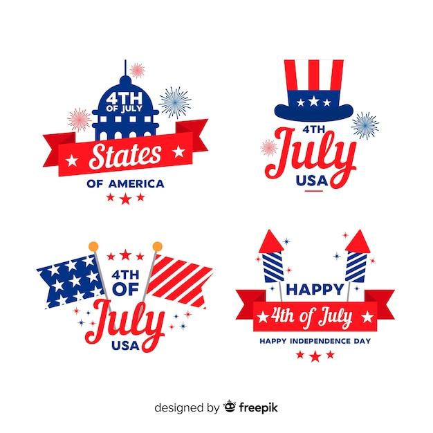 Vierde juli-verzameling Gratis Vector