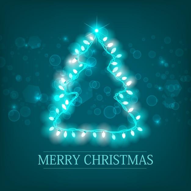 Vieren wintervakantie turkoois sjabloon met inscriptie kerstboom silhouet en licht gloeiende lichtgevende garland Gratis Vector