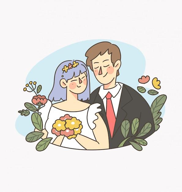Viering dag gelukkig huwelijk vector digitale afbeelding 1 Premium Vector