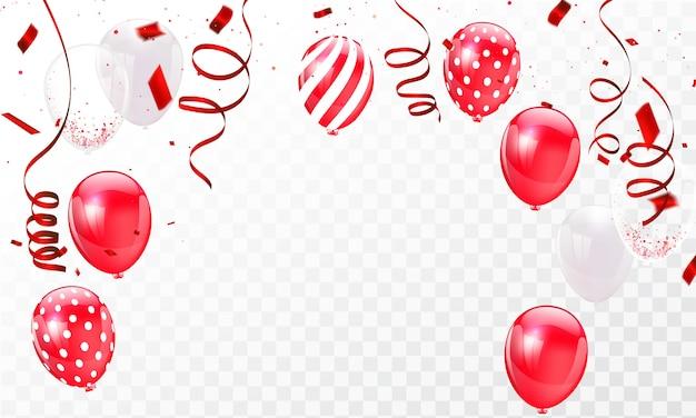 Viering frame achtergrond sjabloon met confetti rode linten Premium Vector
