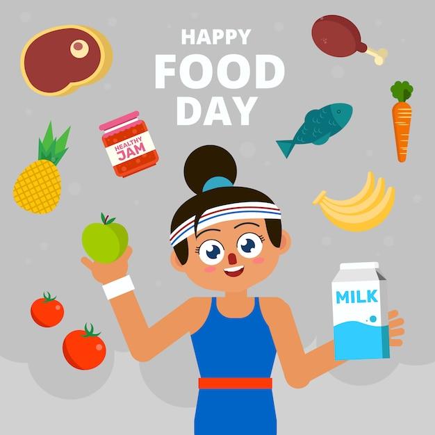 Viering happy food day Premium Vector