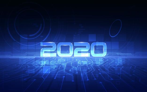 Viering van 2020 met futuristische technologische achtergrond van cyber Premium Vector