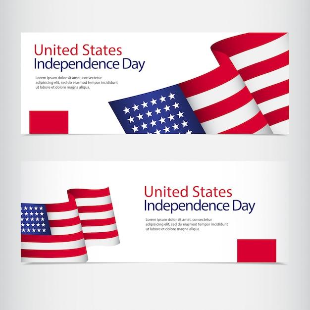 Viering van de onafhankelijkheid van de verenigde staten Premium Vector