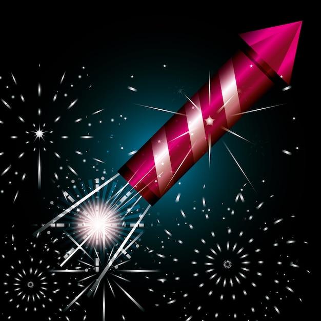 Viering van vuurwerk nacht scène pictogram Premium Vector