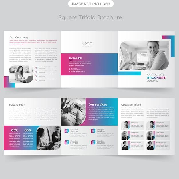 Vierkant driebladig brochureontwerp Premium Vector