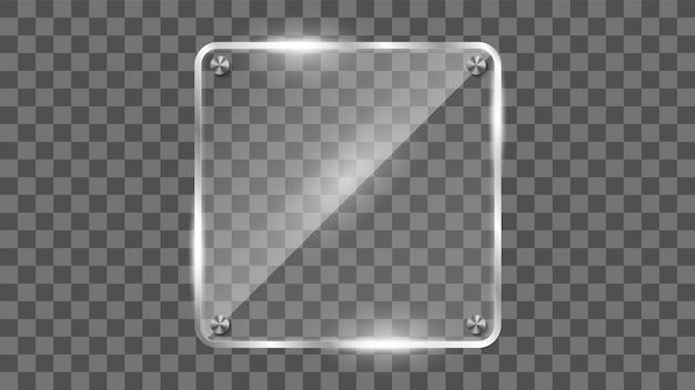 Vierkant glazen frame, reflecterende glazen banner. Premium Vector