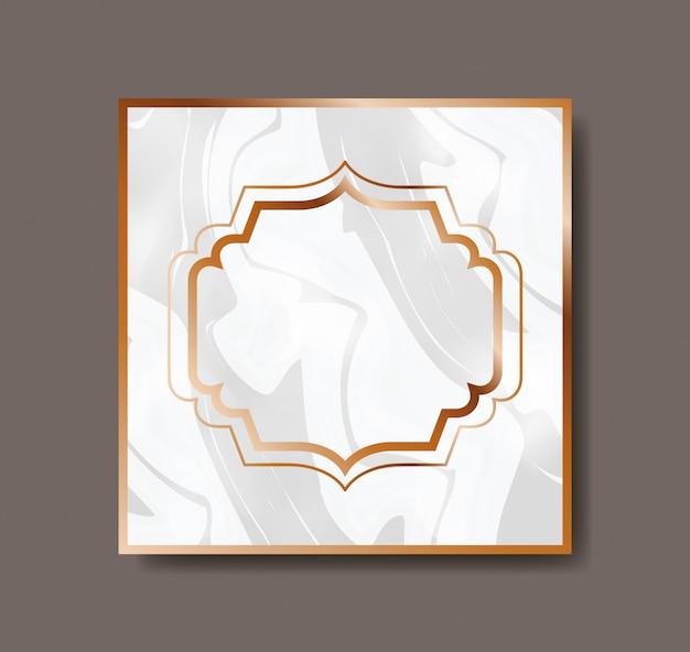 Vierkant goud met victorian frame marmeren textuur Premium Vector
