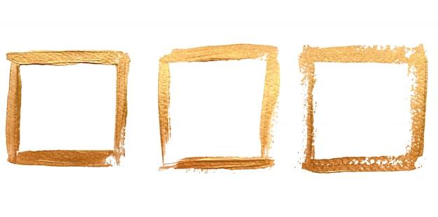 Vierkant gouden frame ingesteld Premium Vector
