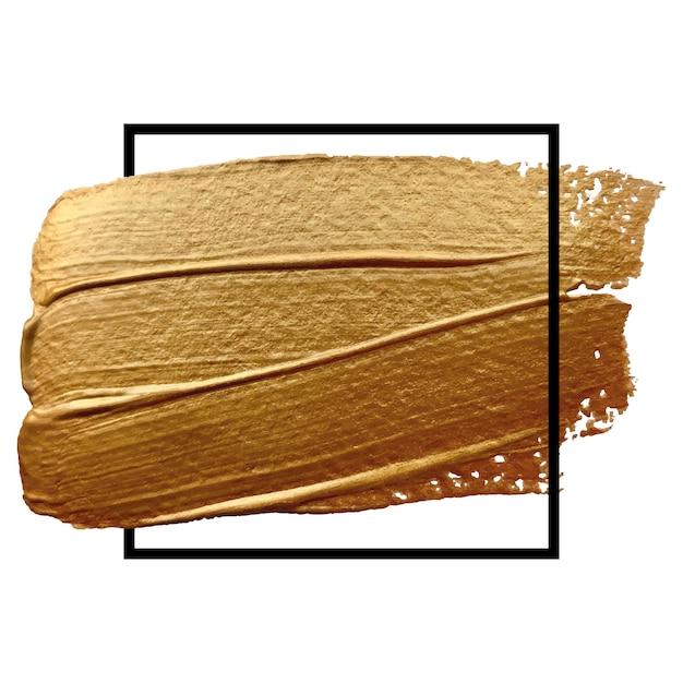 Vierkant gouden frame met beige penseelstreek Premium Vector