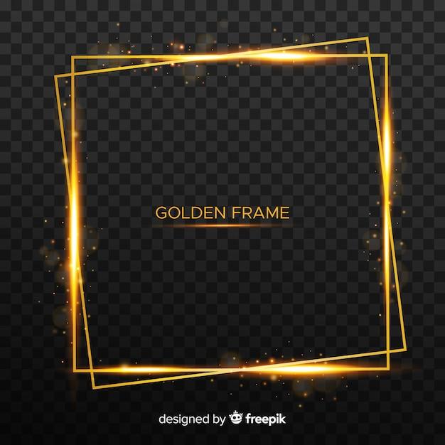 Vierkant gouden frame Gratis Vector