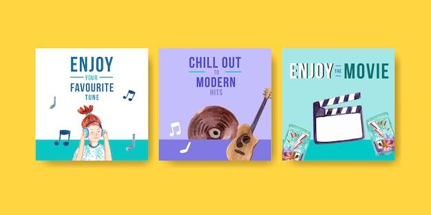 Vierkant instagram postsjabloon met modern design over muziek en films Gratis Vector