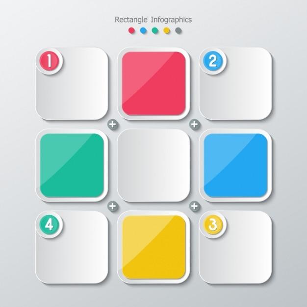 Vierkant kleuren en grijs Gratis Vector