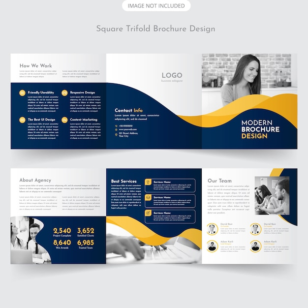 Vierkant trifold brochure Premium Vector