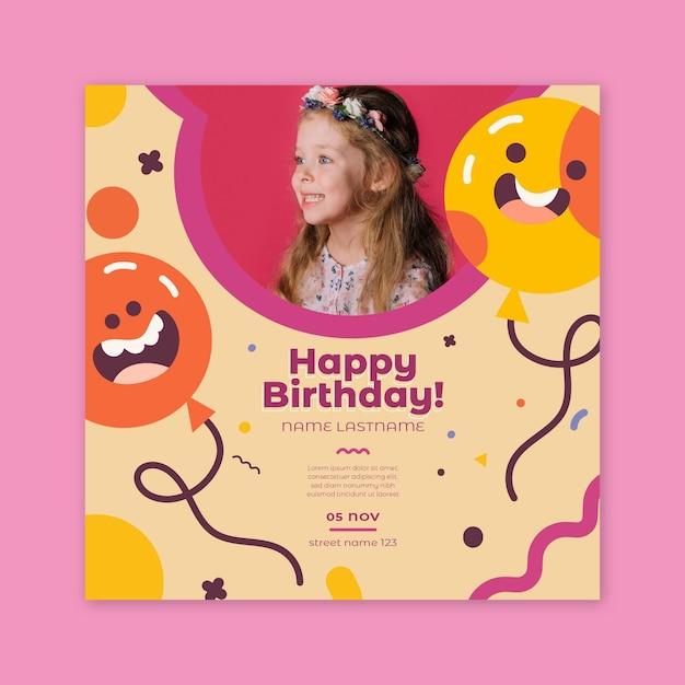 Vierkant verjaardag flyer voor kinderen Premium Vector