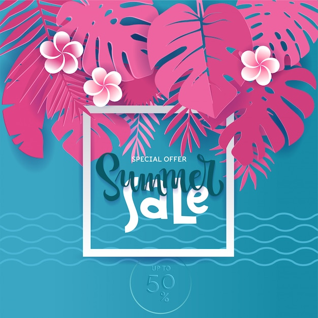 Vierkant zomer tropische palmmonsterblaadjes in trendy papier gesneden stijl. wit frame 3d letters zomerverkoop verstopt in exotische blauwe bladeren op roze voor reclame. kaart illustratie. Premium Vector