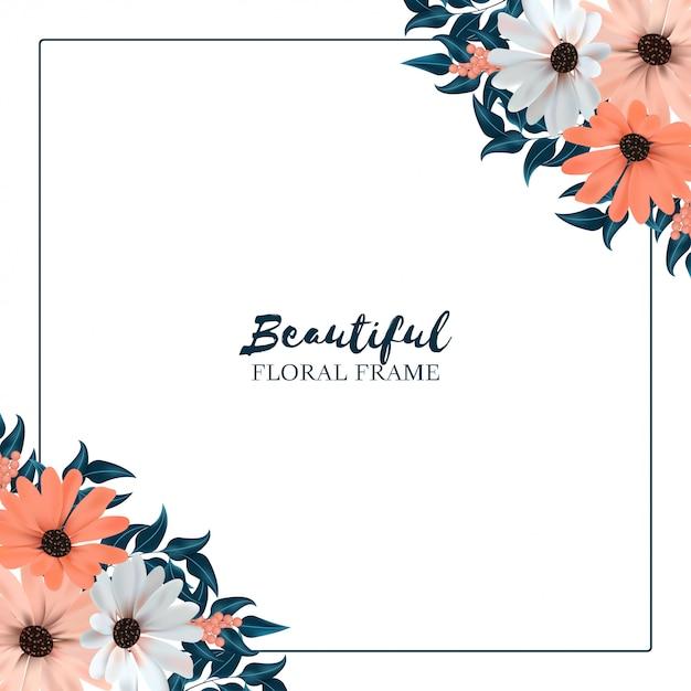 Vierkante achtergrond met bloemenrand Premium Vector