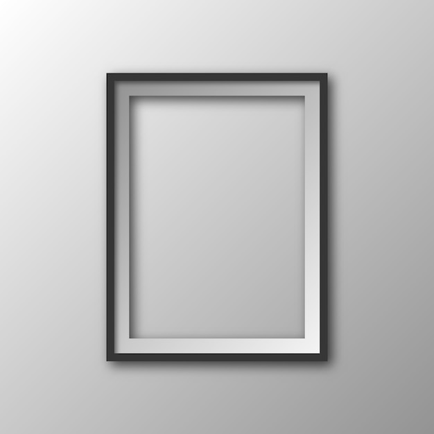 Vierkante afbeeldingsframe met schaduw. 3d-fotolijst geïsoleerd. Premium Vector