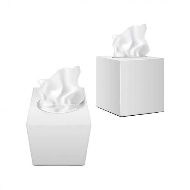 Vierkante doos met papieren servetten. witte realistische verpakking Premium Vector