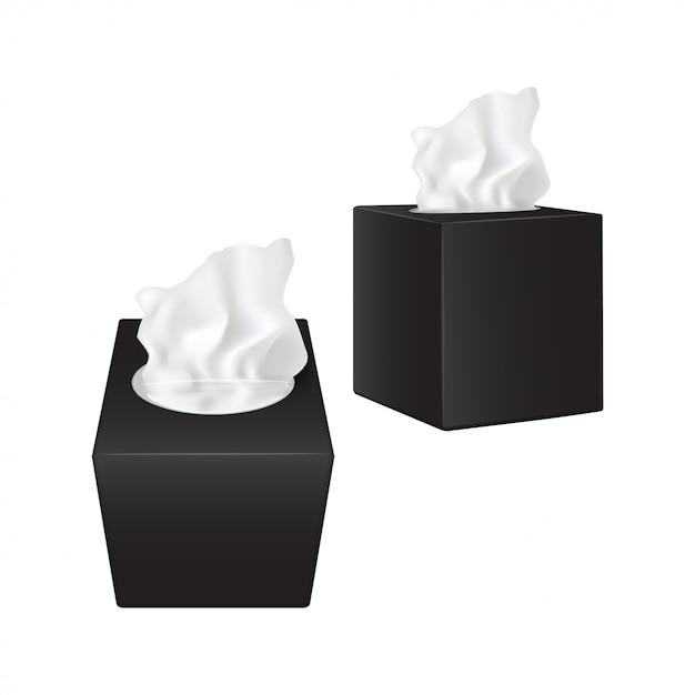 Vierkante doos met papieren servetten. zwarte realistische verpakking Premium Vector