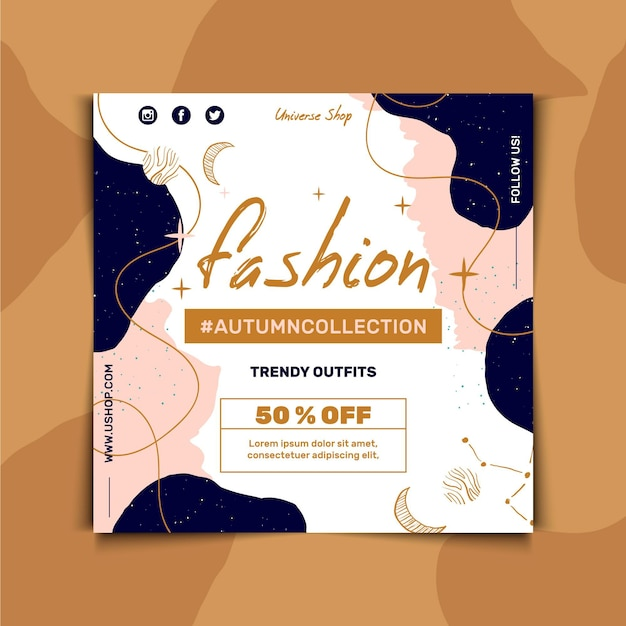 Vierkante flyer-sjabloon voor mode verkoop Gratis Vector