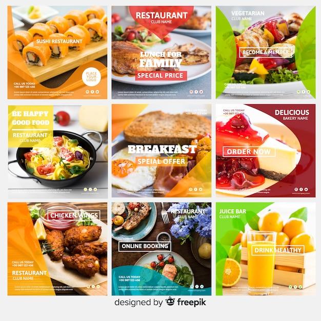 Vierkante fotografische voedsel banner set Gratis Vector