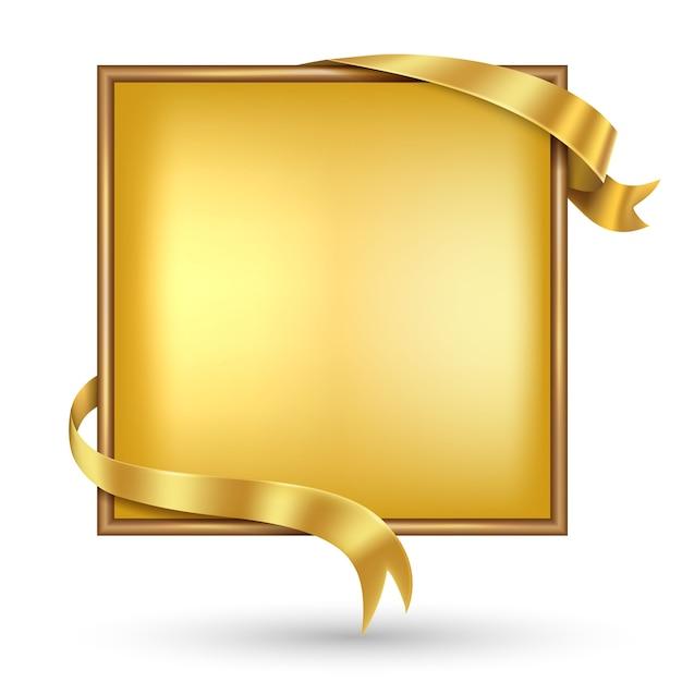 Vierkante gouden banner met gouden lint Premium Vector