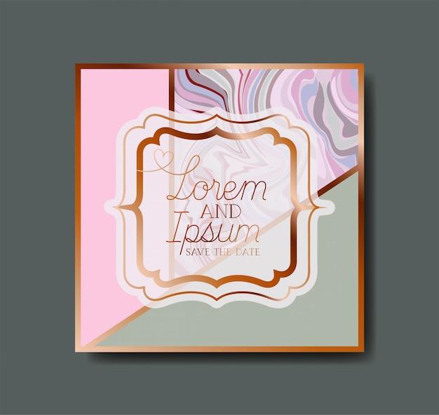 Vierkante gouden frame marmeren textuur Premium Vector
