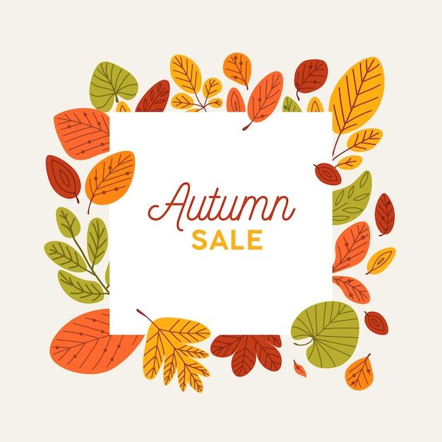 Vierkante herfst sjabloon voor spandoek versierd met omgevallen boombladeren Premium Vector