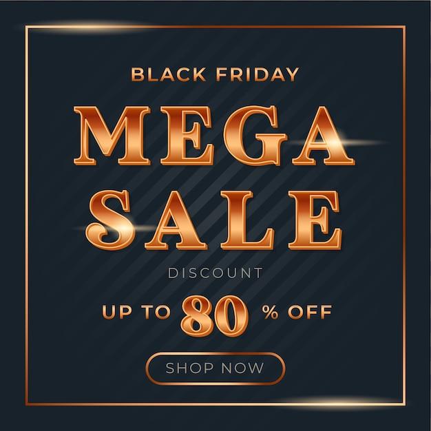 Vierkante mega sale met glanzend gouden verloop lettertype voor black friday sale banner Premium Vector