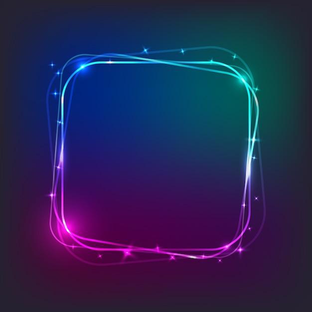 Vierkante neonlichtbanner met vrije ruimte voor tekst Premium Vector