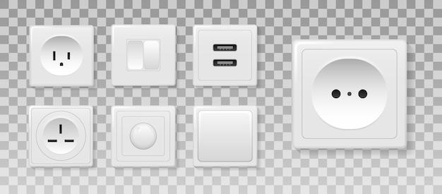 Vierkante rechthoekige en ronde witte wandschakelaar en stopcontacten Premium Vector