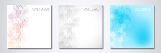 Vierkante sjabloon voor dekking of brochure, met geometrische abstracte achtergrond van moleculaire structuren en chemische verbindingen. Premium Vector